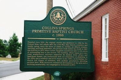 Collins Springs Primitive Baptist Church, c. 1866 Marker image. Click for full size.
