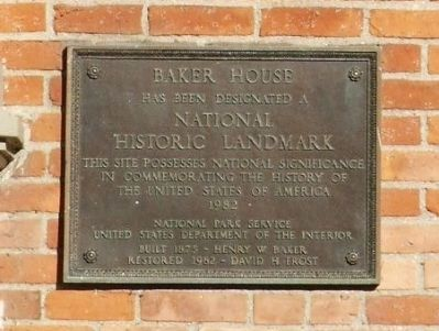 Baker House National Historic Landmark Plaque image. Click for full size.