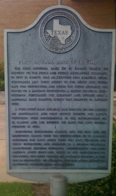 First National Bank of El Campo Marker image. Click for full size.
