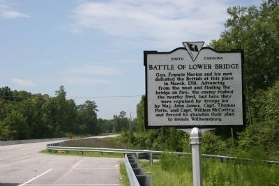 Battle Of Lower Bridge Marker and Modern Bridge image. Click for full size.
