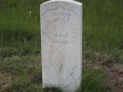 Headstone of Corp. Jefferson Dilts Co. G 1 Minn. Cav. image. Click for full size.
