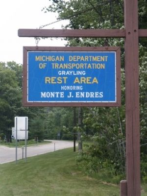 Grayling Rest Area sign image. Click for full size.