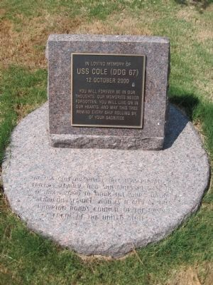 USS Cole (DDG 67) Memorial Marker image. Click for full size.
