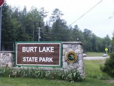 Burt Lake State Park sign image. Click for full size.