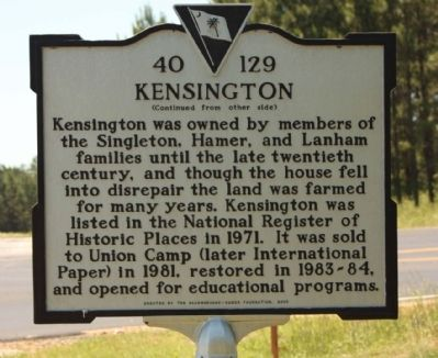Kensington Marker, reverse side image. Click for full size.