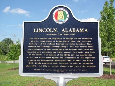 Lincoln, Alabama Marker image. Click for full size.