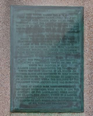 Thomas Alva Edison Memorial Tower Marker Plaque I image. Click for full size.