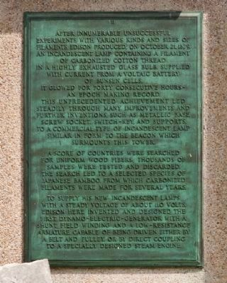 Thomas Alva Edison Memorial Tower Marker Plaque II image. Click for full size.