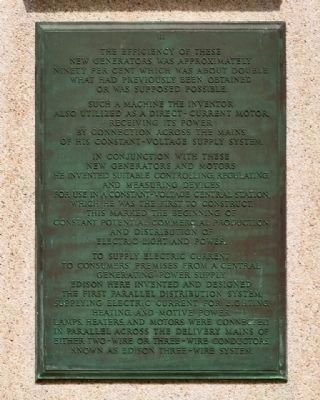 Thomas Alva Edison Memorial Tower Marker Plaque III image. Click for full size.