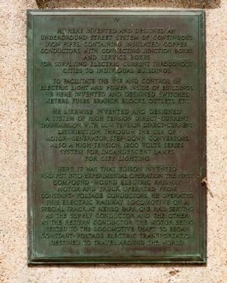 Thomas Alva Edison Memorial Tower Marker Plaque IV image. Click for full size.