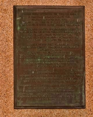Thomas Alva Edison Memorial Tower Marker Plaque VI image. Click for full size.