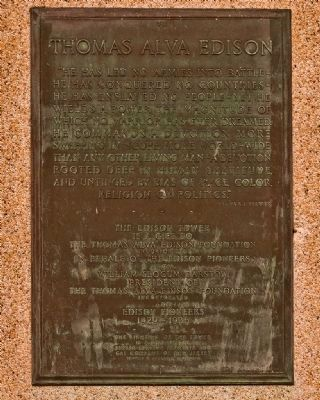 Thomas Alva Edison Memorial Tower Marker Plaque VII image. Click for full size.