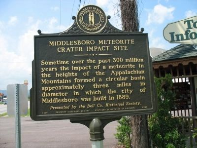 Middlesboro Meteorite Crater Impact Site Marker - Side B image. Click for full size.
