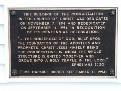 Congregational United Church of Christ Dedication/Rededication Plaque image. Click for full size.