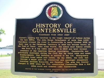 History of Guntersville Marker image. Click for full size.