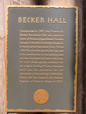 Becker Hall Marker image. Click for full size.