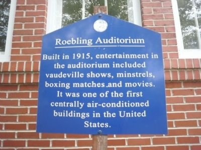 Roebling Auditorium Marker image. Click for full size.