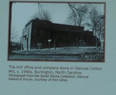 The mill office and company store in Glencoe Cotton Mill, c. 1940s, Burlington, North Carolina image. Click for full size.