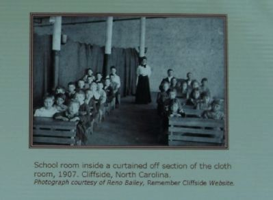 School room inside a curtained off section of the cloth room, 1907. Cliffside, North Carolina. image. Click for full size.