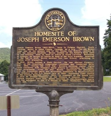 Homesite of Joseph Emerson Brown Marker image. Click for full size.