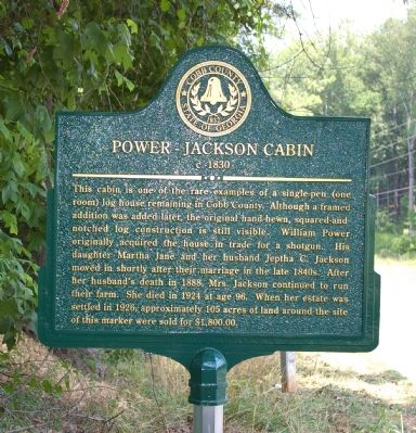 Power-Jackson Cabin Marker image. Click for full size.