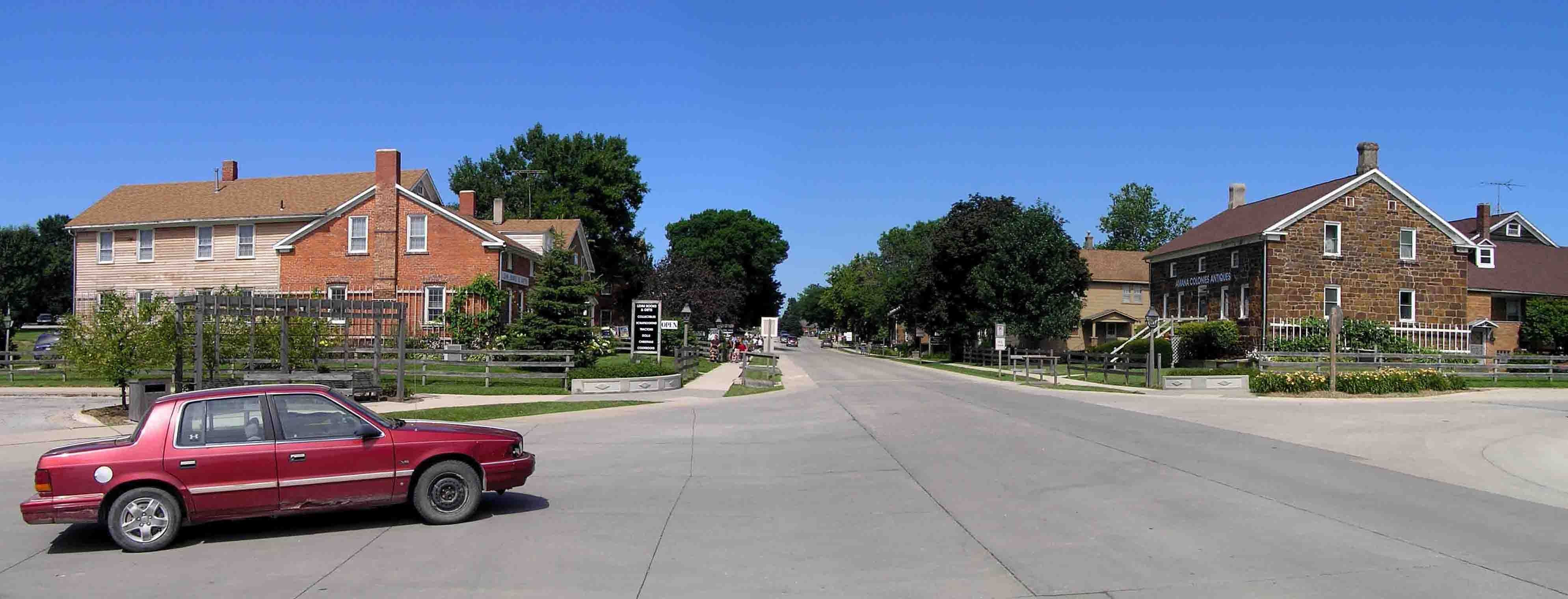 A view of the main street (220th Trail) of the village of Amana, the largest of the seven villages
