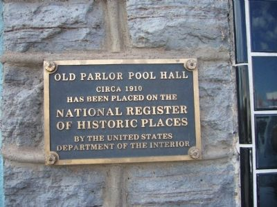 Old Parlor Pool Hall Marker image. Click for full size.