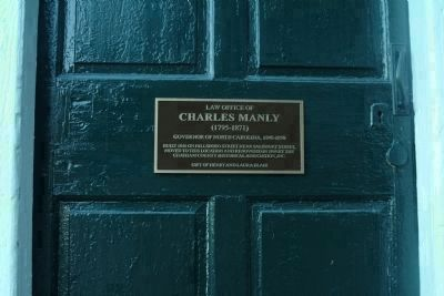 Marker on the Door of Charles Manly's Law Office image. Click for full size.