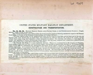 United States Military Railroad Department. Construction and Transportation. image. Click for full size.