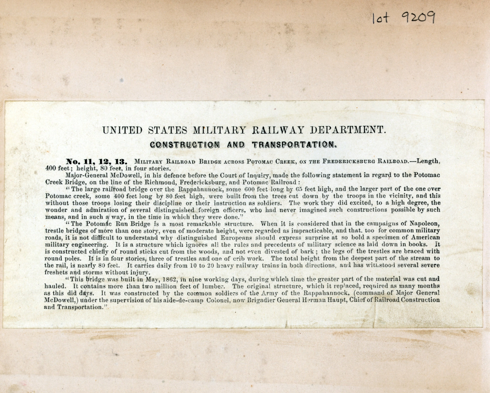 United States Military Railroad Department. Construction and Transportation.