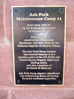 Ash Fork Maintenance Camp #1 Marker image. Click for full size.