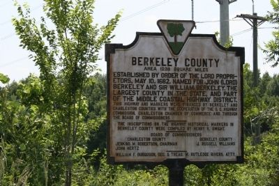 Berkeley County Marker (ca. 1940) image. Click for full size.