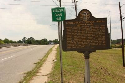 Confederate Powder Works Marker, looking west along Broad Street (State Road 28) image. Click for full size.