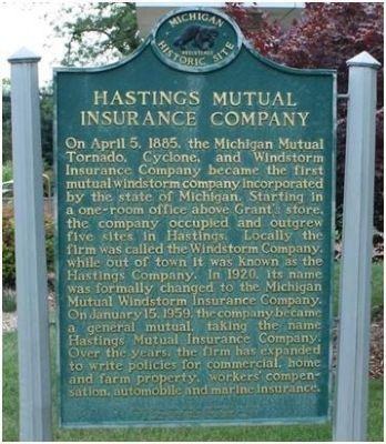 Hastings Mutual Insurance Company Historical Marker image. Click for full size.