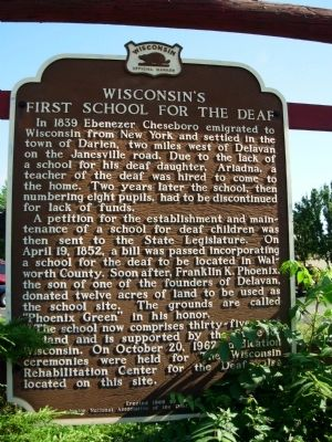 Wisconsin's First School for the Deaf Marker image. Click for full size.