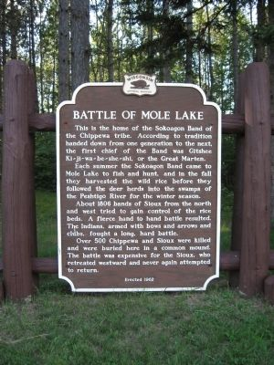 Battle of Mole Lake Marker image. Click for full size.
