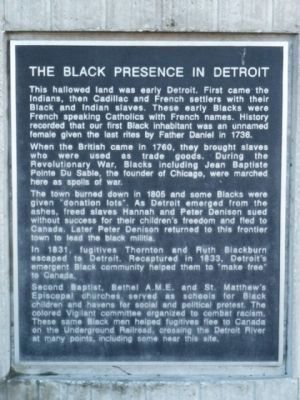 The Black Presence in Detroit Marker - Panel 1 image. Click for full size.