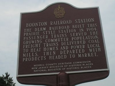 Boonton Railroad Station Marker image. Click for full size.