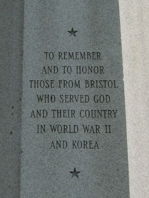 Bristol World War II - Korean War Monument image. Click for full size.