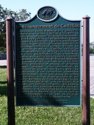 The Landing of Cadillac Marker - French Side image. Click for full size.