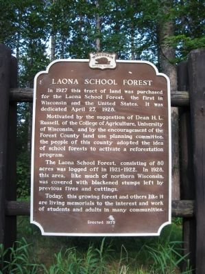 Laona School Forest Marker image. Click for full size.