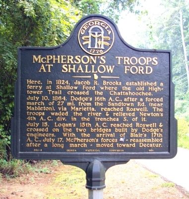 McPherson's Troops at Shallow Ford Marker image. Click for full size.