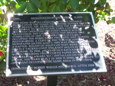 McReynolds-Woods House Marker image. Click for full size.