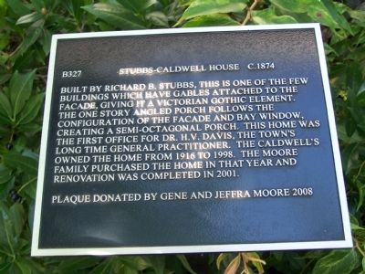 Stubbs-Caldwell House Marker image. Click for full size.