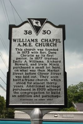 Williams Chapel A.M.E. Church Marker image. Click for full size.