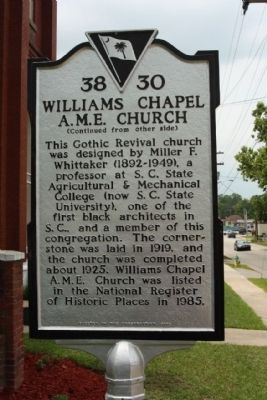 Williams Chapel A.M.E. Church Marker, reverse side image. Click for full size.
