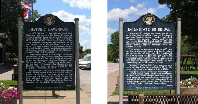 Historic Davenport / Interstate 80 Bridge Marker image. Click for full size.