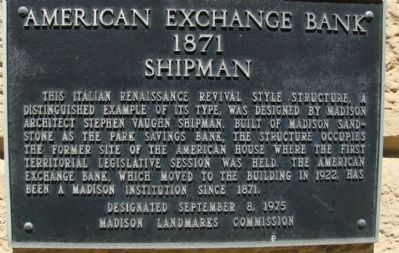 American Exchange Bank Marker image. Click for full size.