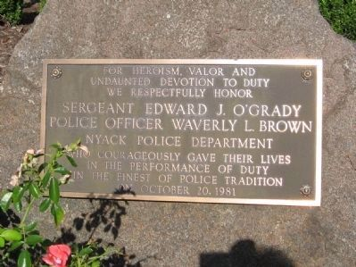 Nearby Memorial to the Nyack Police Officers Who Lost Their Lives image. Click for full size.