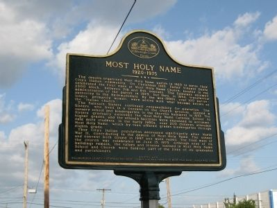 Original Most Holy Name Marker image. Click for full size.